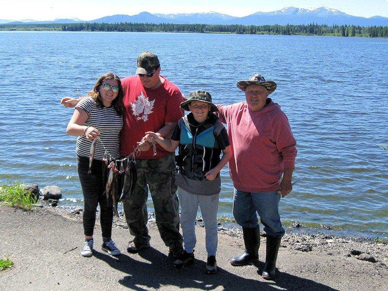family fishing at Anahim Lake